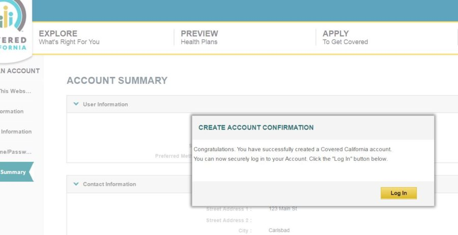 account creation confirmation on covered california application