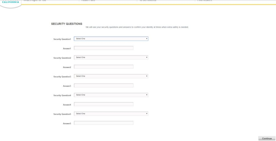 security questions page for covered california applicaiton